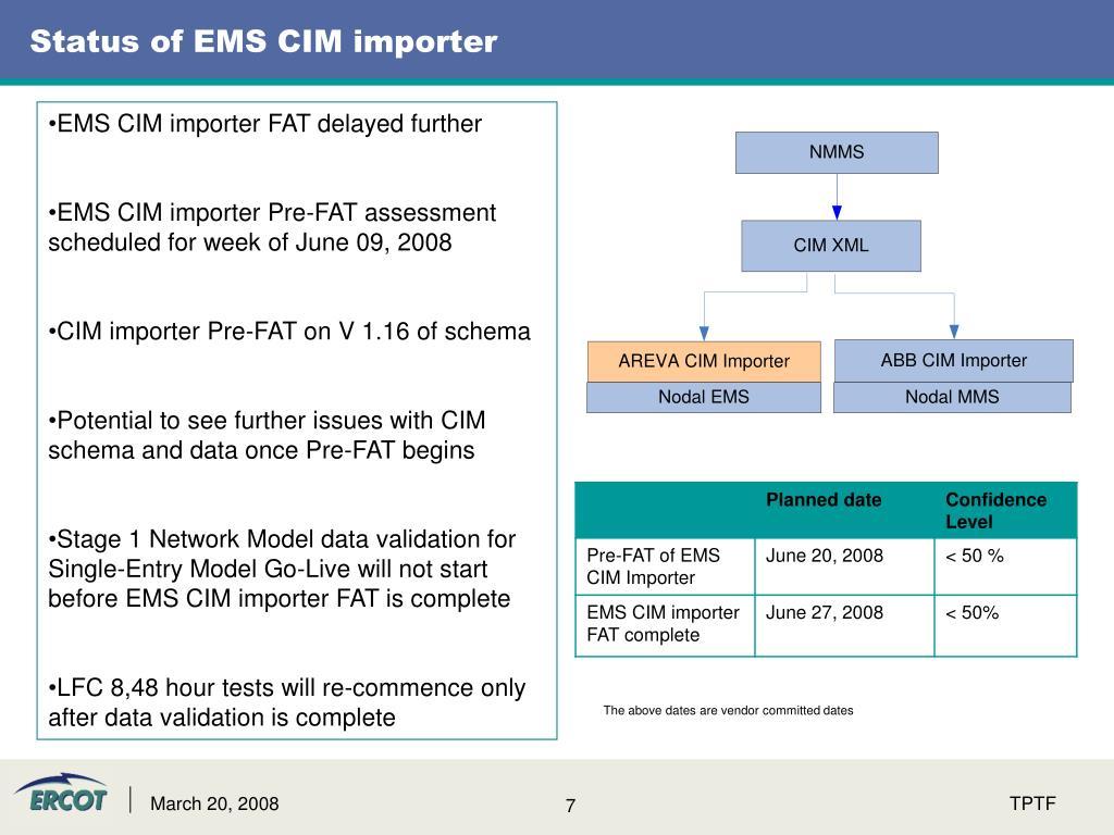 Status of EMS CIM importer