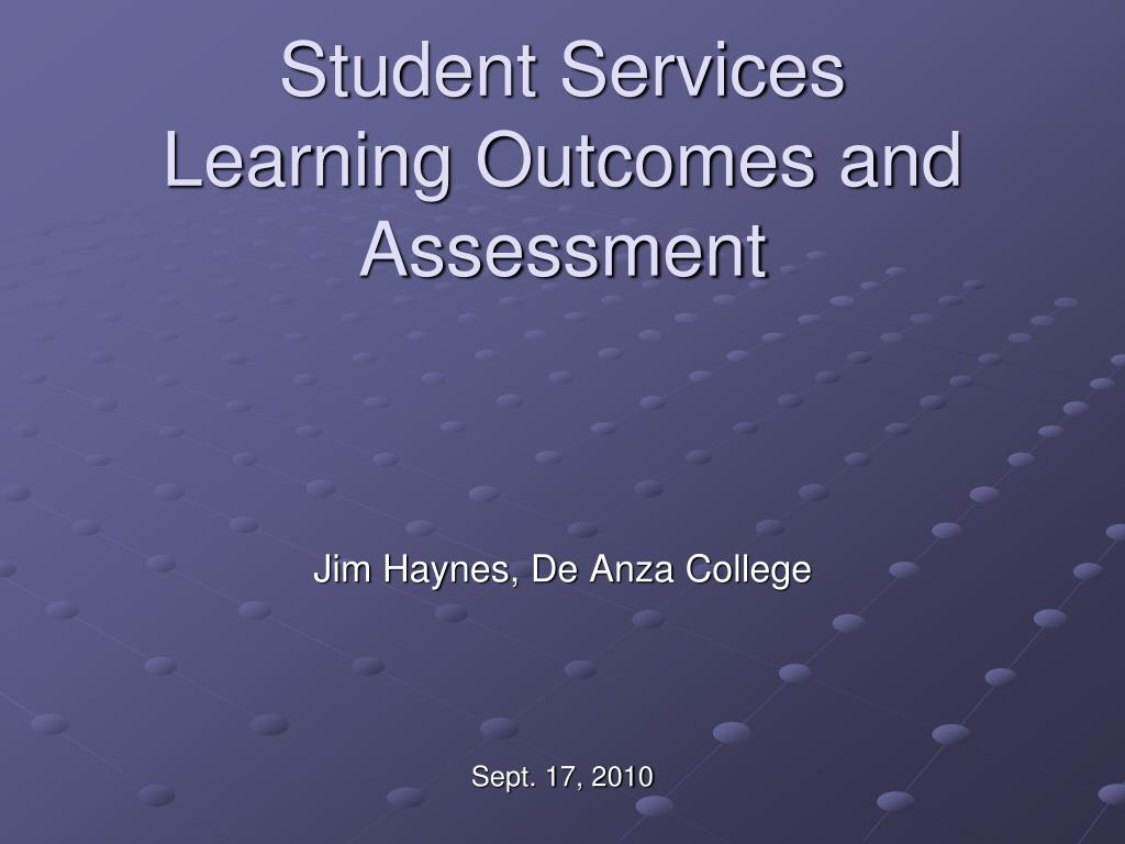student services learning outcomes and assessment l.