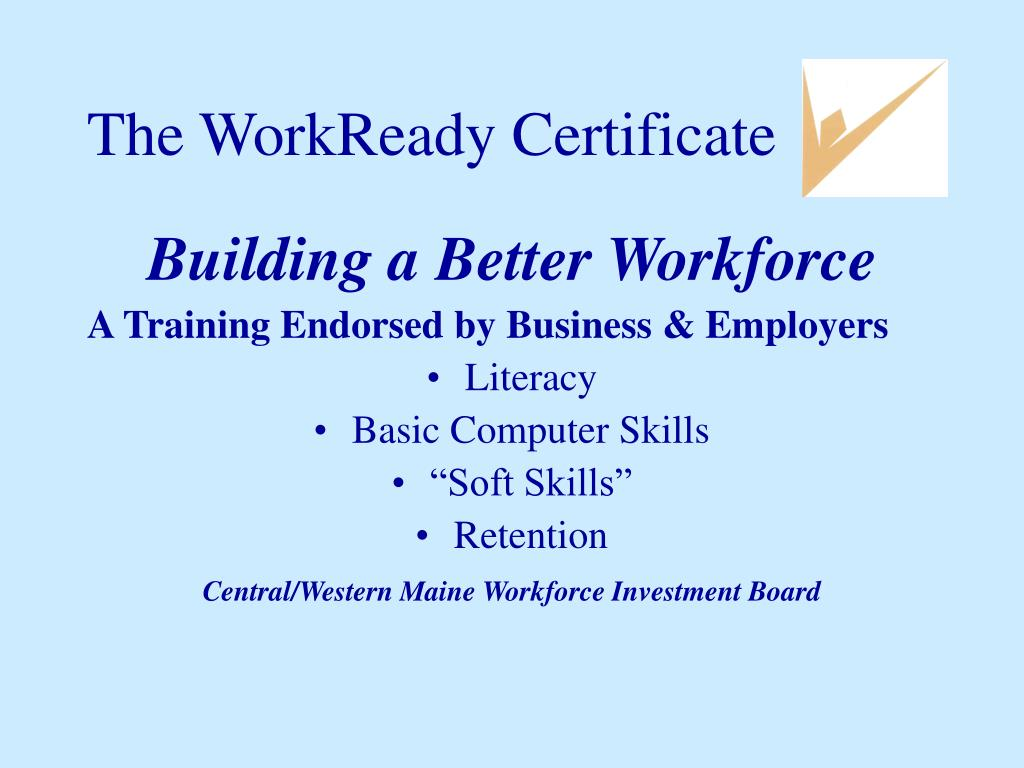 the workready certificate l.