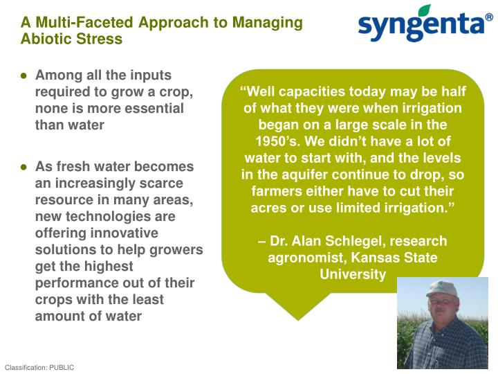 A multi faceted approach to managing abiotic stress