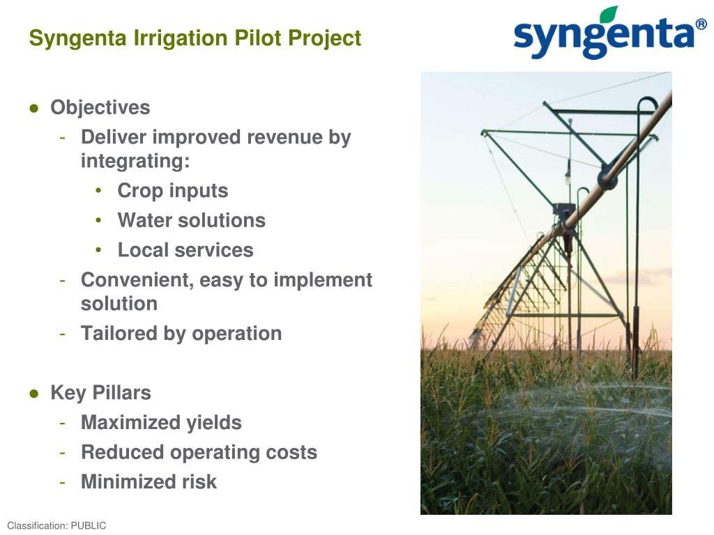 Syngenta Irrigation Pilot Project