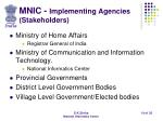 mnic implementing agencies stakeholders