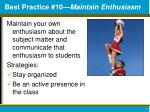 best practice 10 maintain enthusiasm