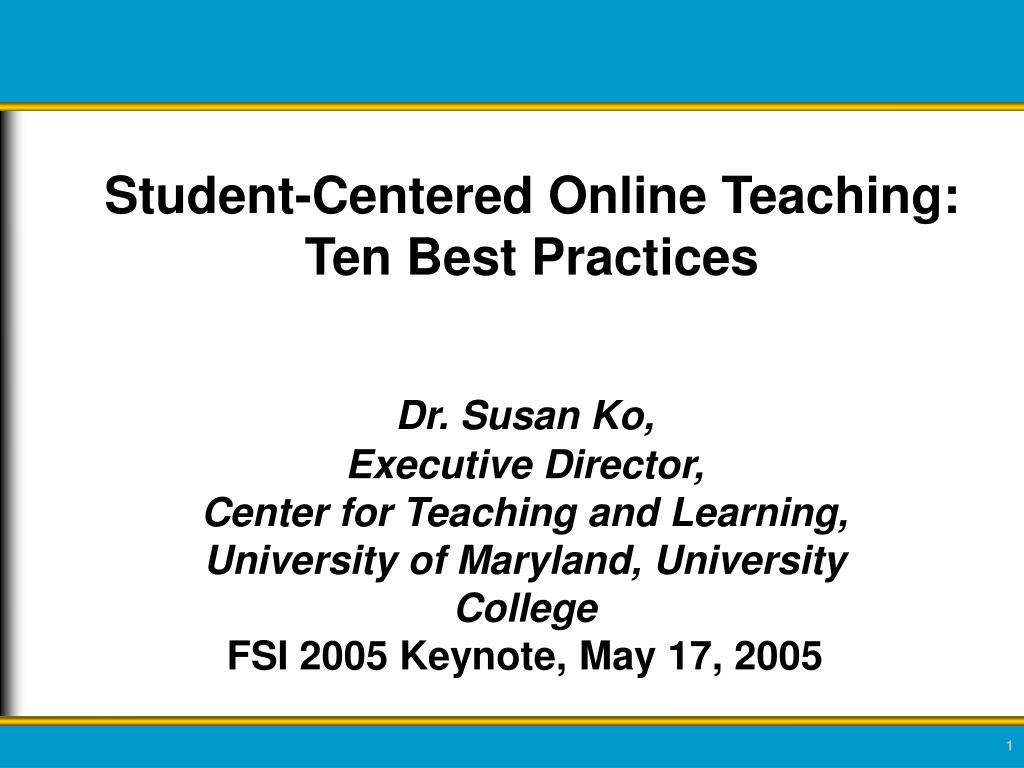 student centered online teaching ten best practices l.