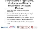 considerations of applications middleware and network infrastructure to support medicine