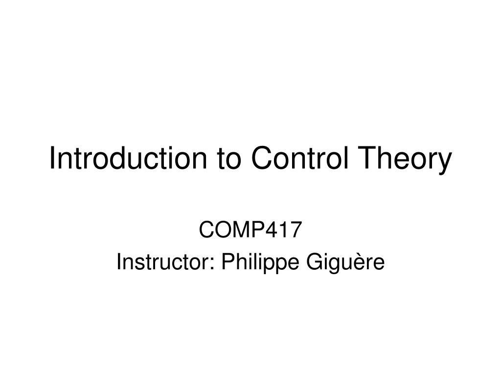 introduction to control theory l.