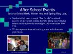 after school events back to school bash winter hop and spring fling luau