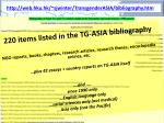 220 items listed in the tg asia bibliography