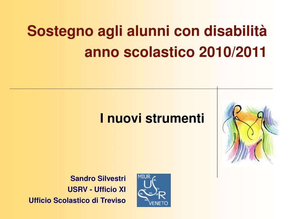 sostegno agli alunni con disabilit anno scolastico 2010 2011 l.