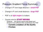 pressure gradient force summary