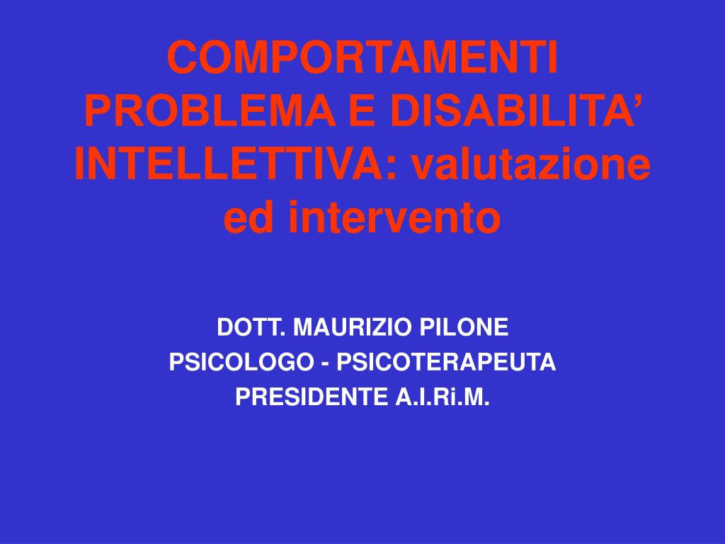 comportamenti problema e disabilita intellettiva valutazione ed intervento l.