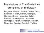 translations of the guidelines completed or underway
