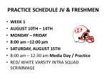 practice schedule jv freshmen