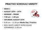 practice schedule varsity