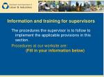 information and training for supervisors47