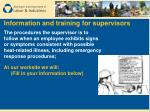 information and training for supervisors48