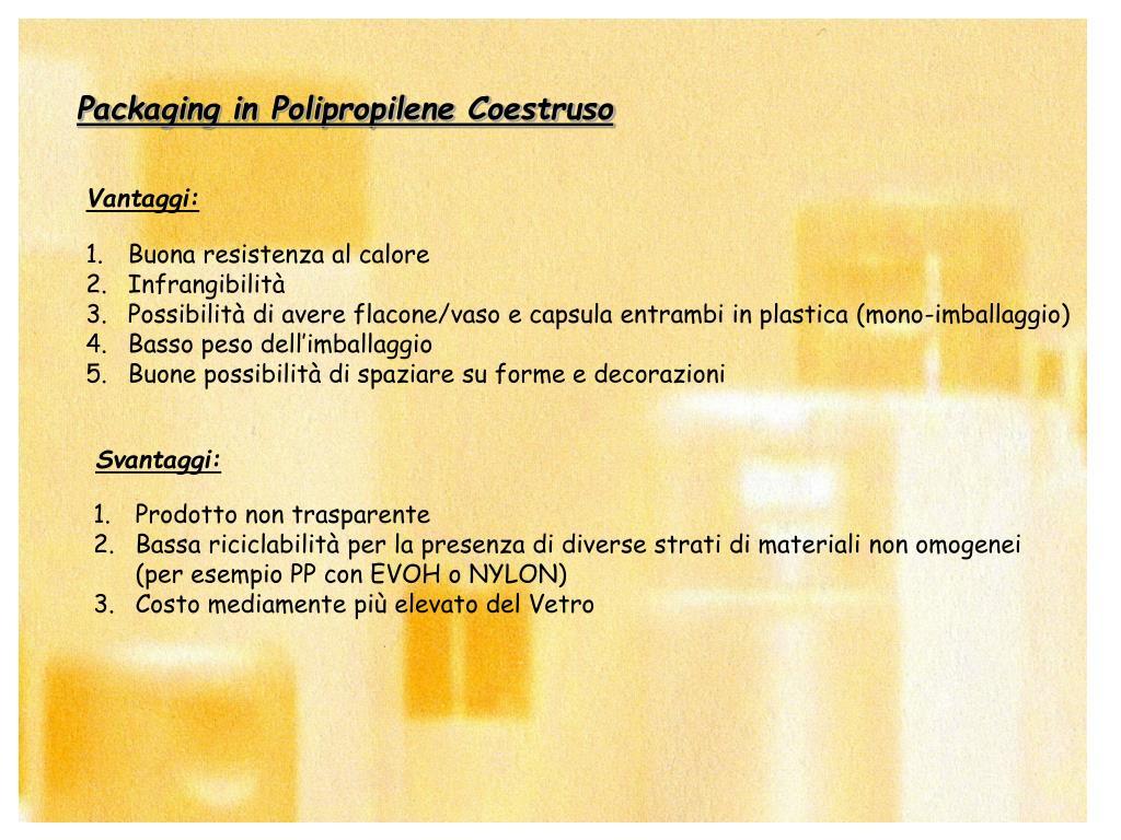 Packaging in Polipropilene Coestruso