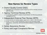 new names for review types