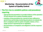 monitoring documentation of the system of quality control