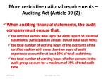 more restrictive national requirements auditing act article 39 2
