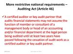 more restrictive national requirements auditing act article 4 6