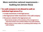 more restrictive national requirements auditing act article 45 1
