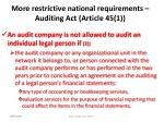 more restrictive national requirements auditing act article 45 148