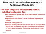 more restrictive national requirements auditing act article 45 149