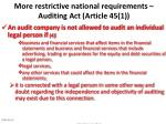 more restrictive national requirements auditing act article 45 150