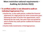 more restrictive national requirements auditing act article 45 2