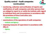 quality control audit companies continuation