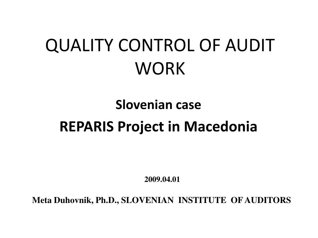 quality control of audit work l.