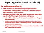 reporting under zrev 2 article 77