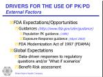 drivers for the use of pk pd external factors