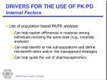 drivers for the use of pk pd internal factors12