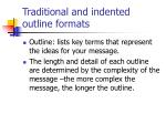 traditional and indented outline formats
