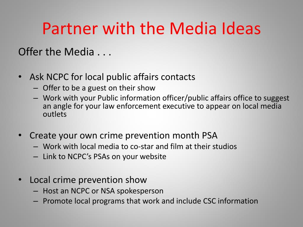 Partner with the Media Ideas