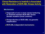 clinical resistance to imatinib is associated with restoration of bcr abl kinase activity