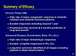 summary of efficacy