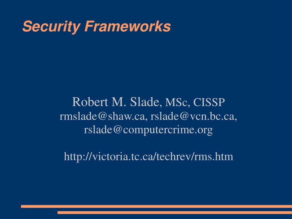 security frameworks l.