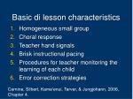 basic di lesson characteristics