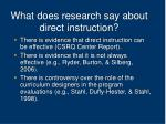 what does research say about direct instruction