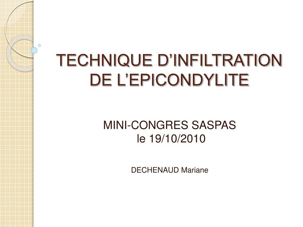 technique d infiltration de l epicondylite l.