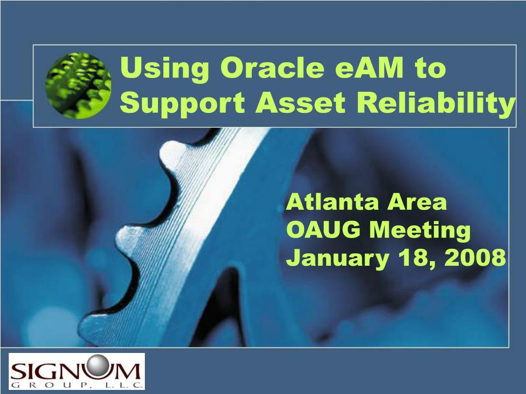 using oracle eam to support asset reliability l.