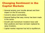changing sentiment in the capital markets