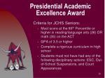 presidential academic excellence award