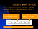 using the excel template33