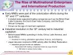 the rise of multinational enterprises and international production