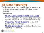 ge data reporting