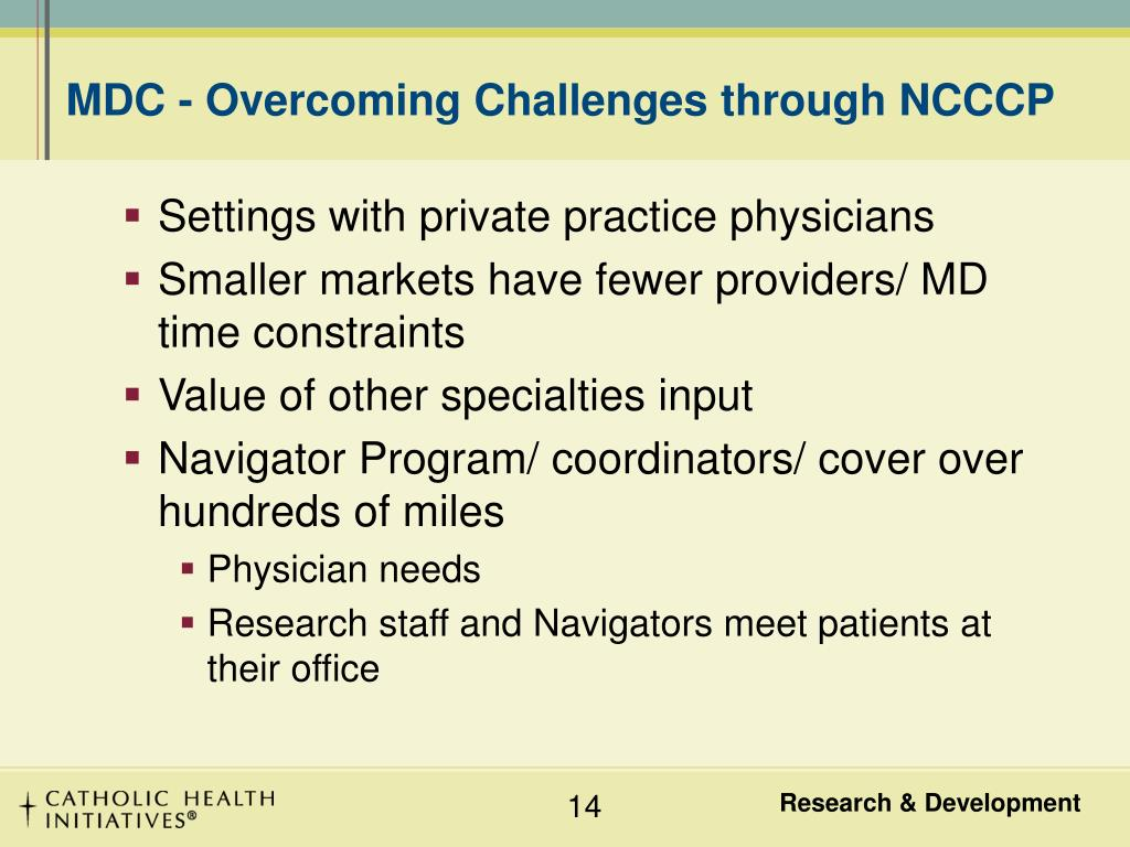 MDC - Overcoming Challenges through NCCCP
